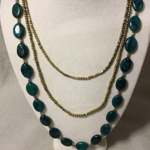 Nakamol 3 strand NWT green stone and gold necklace